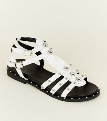White Studded Double Ankle Strap Gladiator Sandals