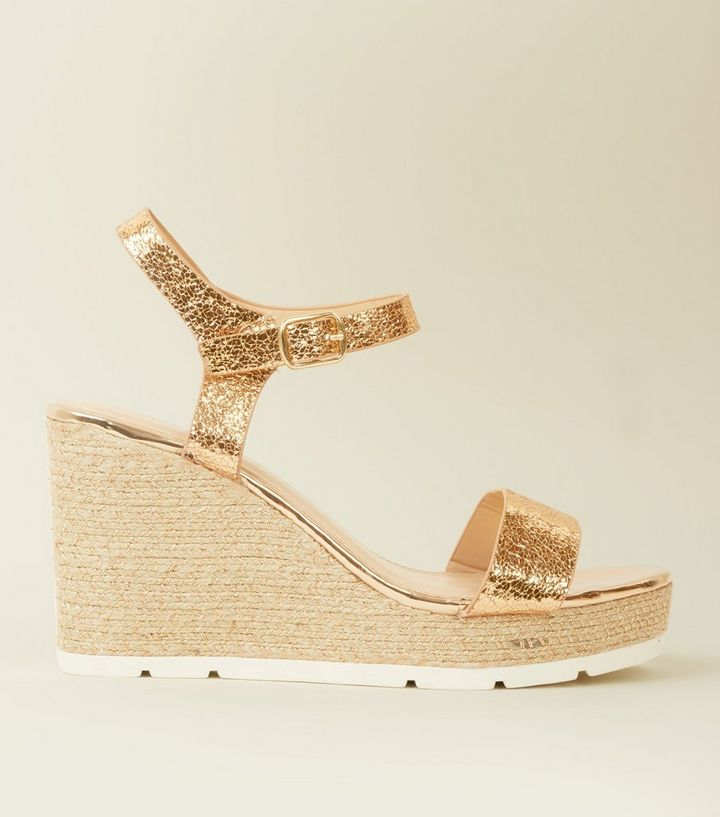 6d164f1a0de Rose Gold Metallic Woven Espadrille Wedges Add to Saved Items Remove from  Saved Items