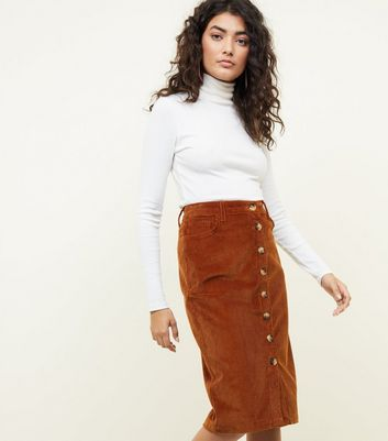 Rust Cord Button Through Pencil Skirt