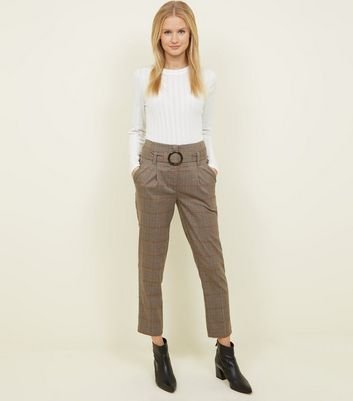 Brown Check High Waist Belted Trousers