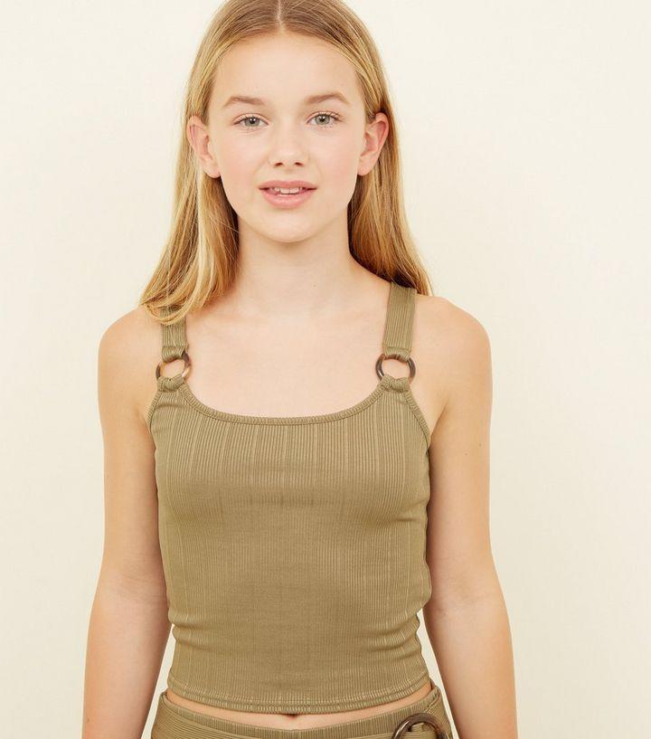 7f5c896fe5d0 Girls Khaki Ring Strap Ribbed Cami | New Look
