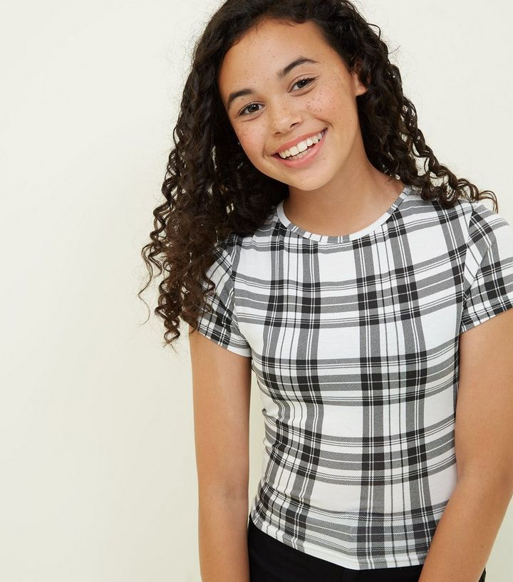 014a9a3db66a19 Girls White Check T-Shirt | New Look