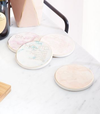 4 Pack Pastel Marble Effect Cocktail Coasters