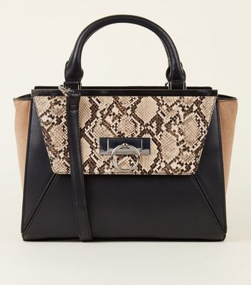 Black Faux Snake Colour Block Tote Bag