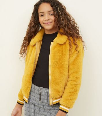 Girls Mustard Faux Fur Collared Jacket