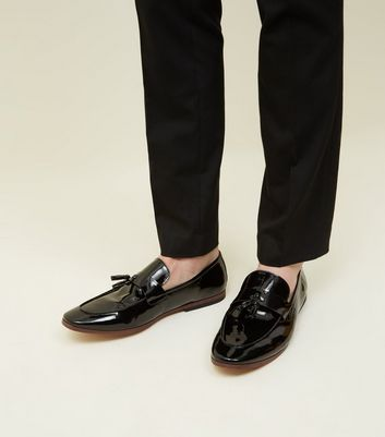 Black Tassel Trim Patent Loafers