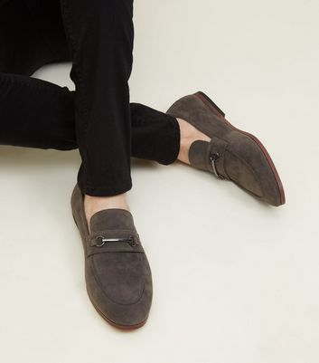 Grey Faux Suede Bar Front Loafers