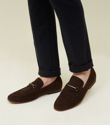 Dark Brown Faux Suede Bar Front Loafers by New Look
