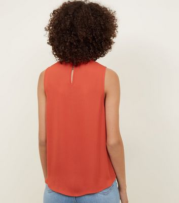 Orange Twist Choker Neck Wrap Top New Look