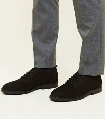 Black Suedette Derby Shoes