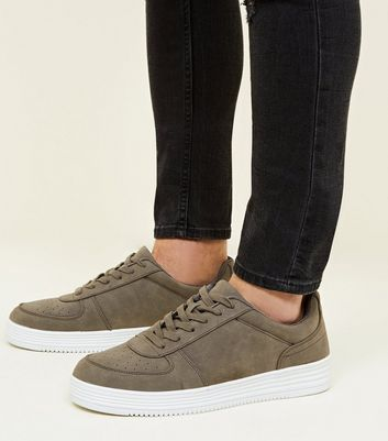 Dark Grey Perforated Toe Lace-Up Trainers