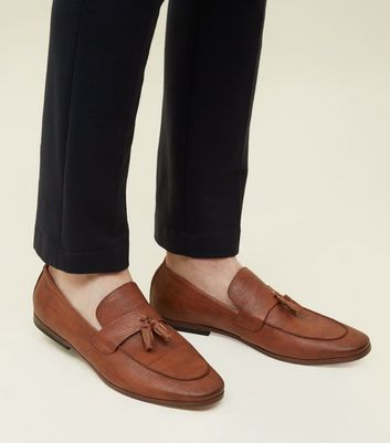 Tan Tassel Trim Loafers