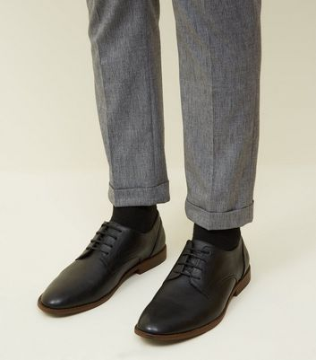 Black Leather-Look Derby Shoes