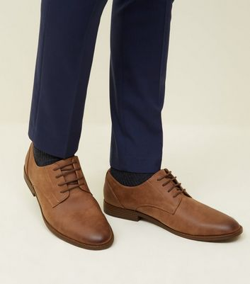 Tan  Leather-Look Derby Shoes