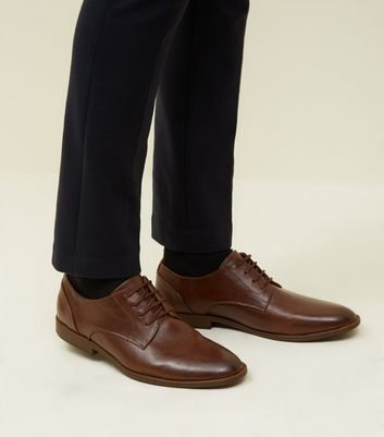 Dark Brown Leather-Look Derby Shoes