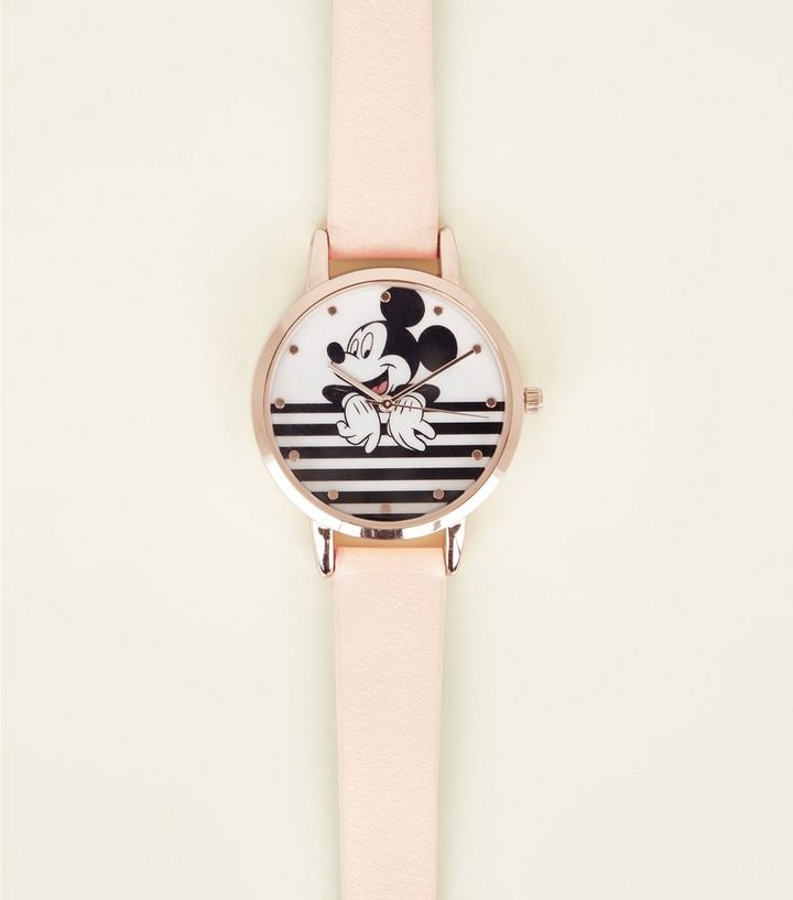 00e2470ed2 Rose Gold Disney Stripe Mickey Mouse Watch   New Look