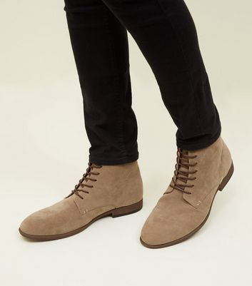 Stone Faux Suede Lace-Up Boots