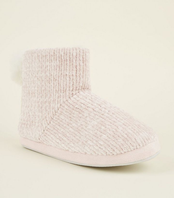 38bbcd41ad9 Pink Chenille Knit Pom Pom Slipper Boots