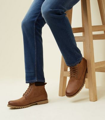 Tan Corduroy Trim Borg Lined Worker Boots