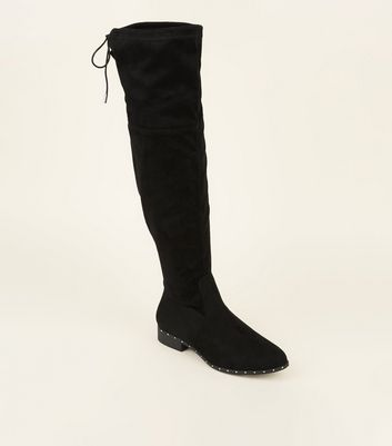 Wide Fit Black Stud Trim Over the Knee Boots