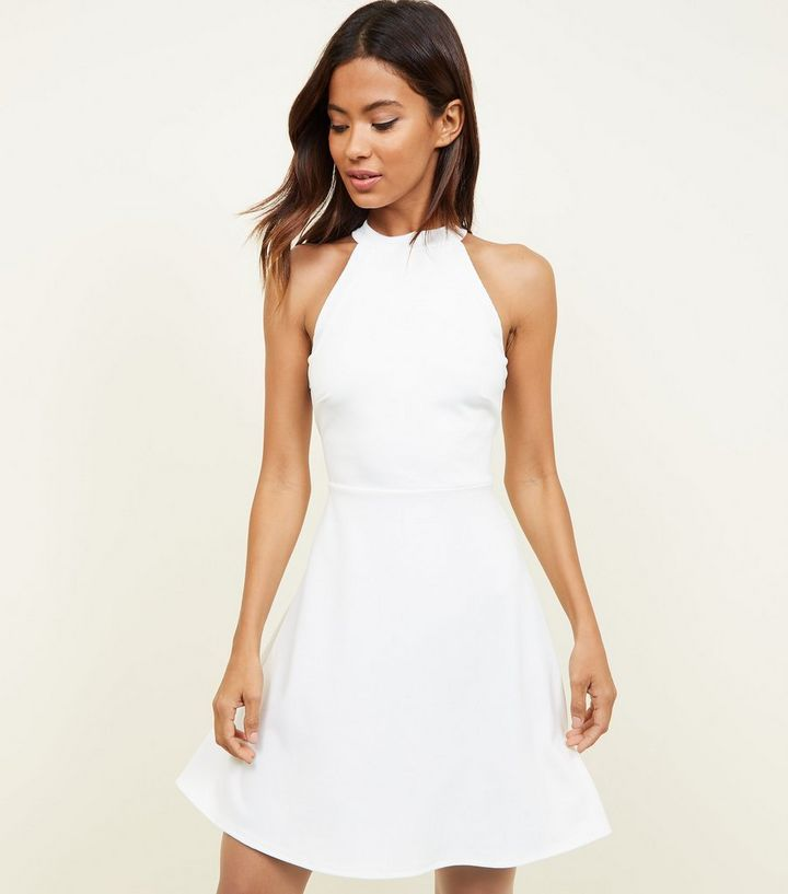 655f079736b0 White High Neck Skater Dress