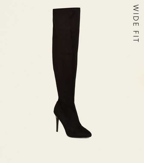 f6dc83abf85 ... Wide Fit Black Suedette Almond Toe Over the Knee Boots ...
