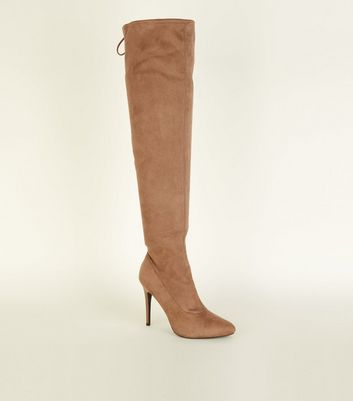 Wide Fit Light Brown Suedette Almond Toe Over the Knee Boots