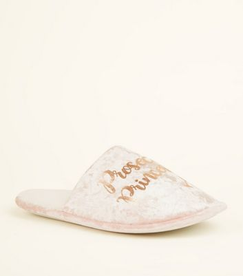 Pink Velvet Prosecco Princess Mule Slippers