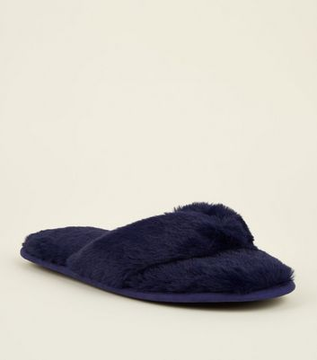 Navy Faux Fur Flip Flop Slippers
