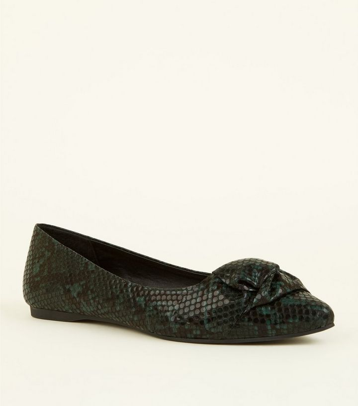 87a885ad432 Wide Fit Green Faux Snake Print Bow Ballet Pumps