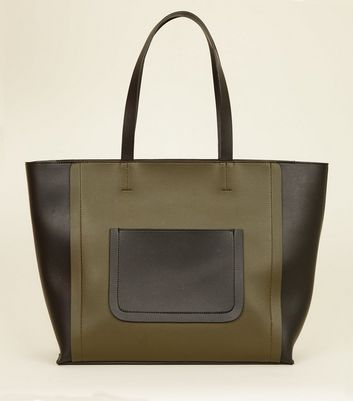 Khaki Leather-Look Colour Block Tote Bag