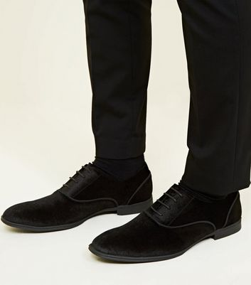 Black Velvet Lace-Up Oxford Shoes