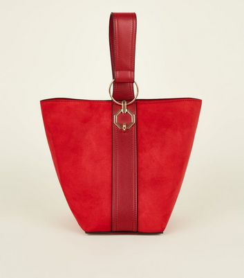 Red Single Handle Suedette Bucket Hobo Bag