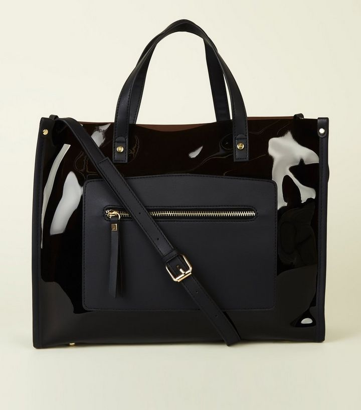 9673be8f14 Black Transparent Tote Bag