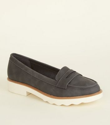 Grey Leather-Look Chunky Penny Loafers