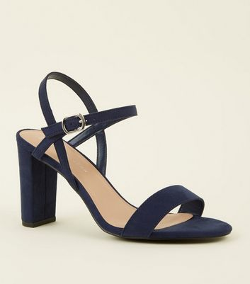 Wide Fit Navy Suedette Two Part Block Heels