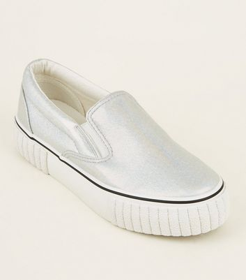 Silver Holographic Chunky Slip On Trainers