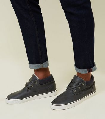Dark Grey Mid-Top Lace Up Trainers