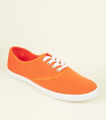 Bright Orange Canvas Lace Up Trainers