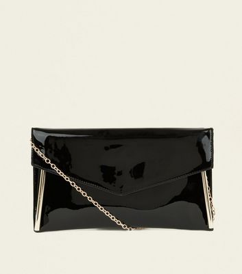 Black Metal Trim Chain Strap Clutch Bag
