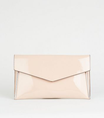 Nude Metal Trim Chain Strap Clutch Bag