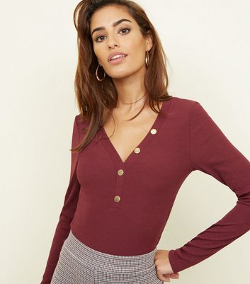 Burgundy Ribbed Button Front Bodysuit