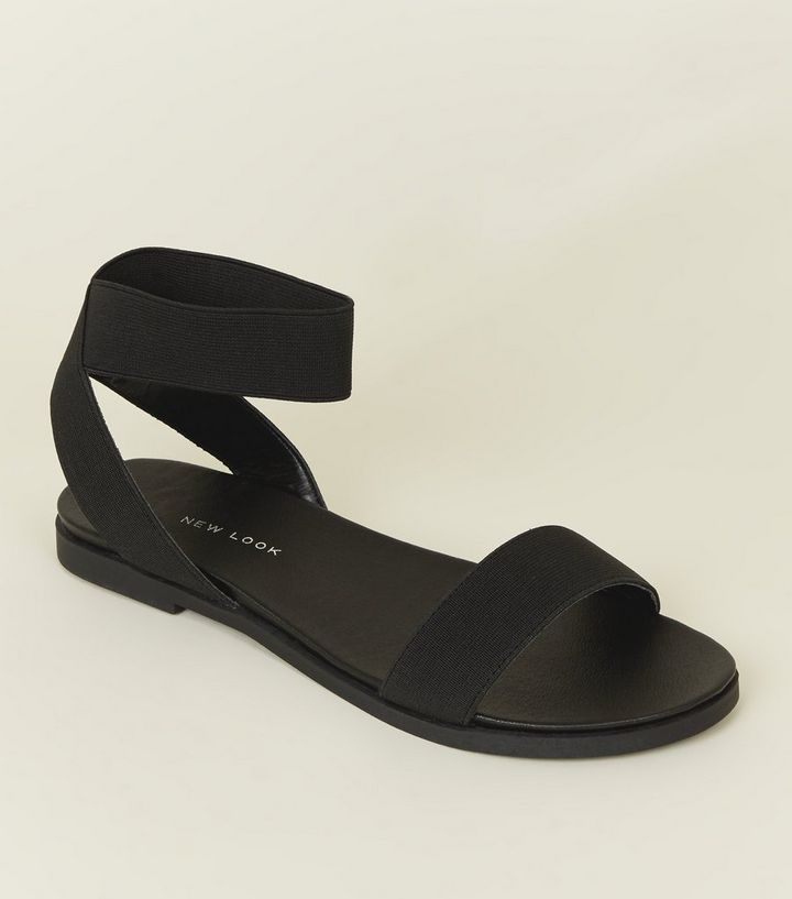 f6520bf4e9d755 Wide Fit Black Elasticated Ankle Cuff Sandals