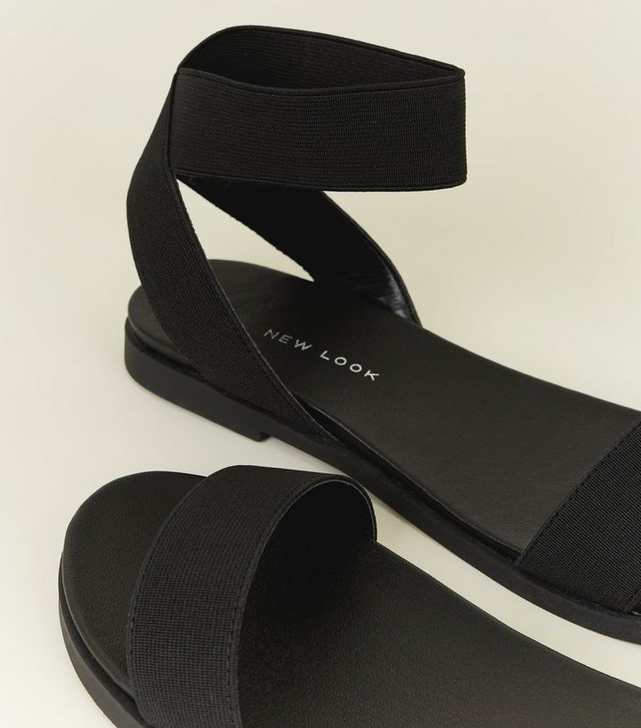 056b969776a41f ... Wide Fit Black Elasticated Ankle Cuff Sandals. ×. ×. ×. Shop the look