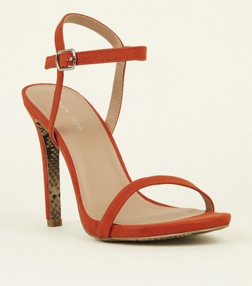 Orange Snakeskin Print Sole Barely There Sandals