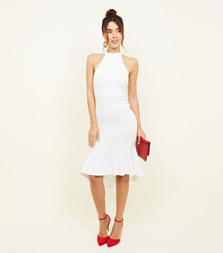 Weißes Partykleid mit Stehkragen und Schößchensaum | New Look