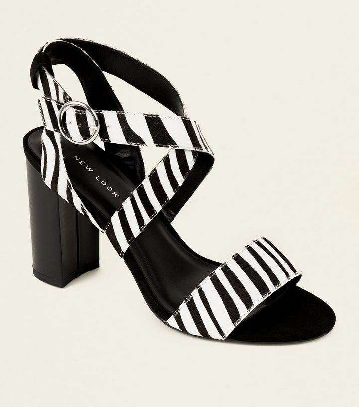 Black Leather Faux Pony Hair Zebra Print Sandals Add to Saved Items Remove from Saved Items