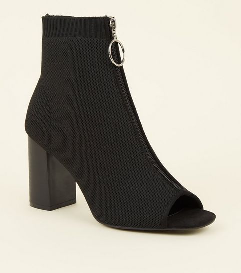 17180931f20d ... Black Knit Ring Zip Peep Toe Sock Boots ...