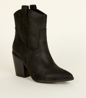 Black Leather-Look Western Calf Boots