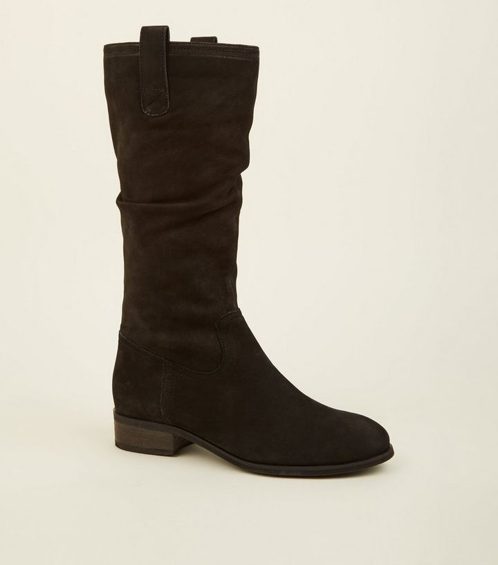 fd6d1a2e743 Black Suede Flat Calf Boots Add to Saved Items Remove from Saved Items